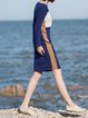 Navy Blue Plain Color-block Long Sleeve Midi Dress