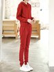 Red Jacquard Casual Two Piece Hoodie Knitted Jumpsuit