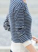 Cotton-blend Stripes Casual Crew Neck Long Sleeve Top