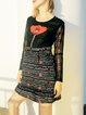 Black Jacquard Polyester Long Sleeve A-line Mini Dress