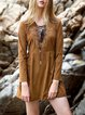 Brown Lace up Vintage A-line Mini Dress
