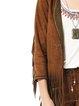 Brown Plain Vintage Polyester Fringed Coat