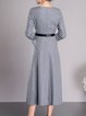 Gray V Neck Simple Wool Blend Midi Dress with Belt
