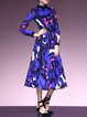 Purplish Blue Peter Pan Collar Floral Printed Swing Midi Dress