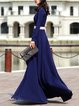 Blue Elegant Swing Color-block Maxi Dress