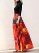 Turtleneck Swing Elegant Graphic 3/4 Sleeve Maxi Dress