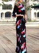 Black Swing Elegant Cotton-blend Animal Print Maxi Dress