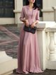 Swing Solid Elegant Long Sleeve Folds Maxi Dress