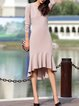 Elegant Cotton-blend Solid Mermaid Long Sleeve Midi Dress