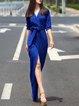 Elegant Surplice Neck 3/4 Sleeve Slit Maxi Dress with Belt