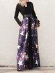 Geometric Elegant Cotton-blend Long Sleeve Maxi Dress with Belt