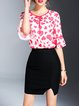 Pink Bow Bell Sleeve Heart Printed Blouse