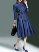 Navy Blue Shirt Collar Casual Washed Midi Dress
