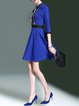Blue Elegant Stand Collar Zipper Mini Dress