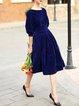 Solid Elegant Folds 3/4 Sleeve Midi Dress
