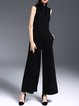 Black Sleeveless Plain Simple Jumpsuit