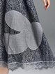 Gray Short Sleeve A-line Plain Appliqued Crocheted Lace Midi Dress