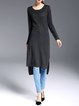 Black Casual Crew Neck Shift Knitted Plain Tunic