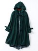 Green Paneled Casual Polyester Hoodie Trench Coat