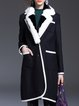 Black H-line Long Sleeve Wool Blend Pockets Lapel Coat