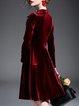 Elegant Plain A-line 3/4 Sleeve Velvet Midi Dress