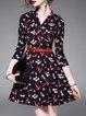 Cotton-blend 3/4 Sleeve Vintage Printed Mini Dress