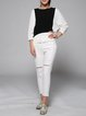 White Ripped Simple Cotton Straight Leg Pants