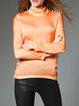 Orange Long Sleeve Plain Turtleneck Long Sleeved Top