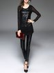 Black Crew Neck Long Sleeve Tunic