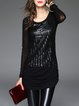 Long Sleeve Casual Mesh Asymmetrical Stripes Tunic