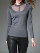 Gray Plain Beaded Mesh Paneled Casual Long Sleeved Top