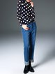 Dark Blue Polka Dots Casual Long Sleeve Top