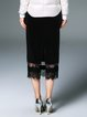 Black Solid Elegant Lace Paneled Midi Skirt