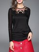 Long Sleeve Mesh Elegant Floral-embroidered T-Shirt