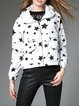 White Casual Hoodie Star Printed Zipper Cropped Jacket
