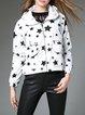 White Casual Hoodie Star Printed Zipper Cropped Jacket