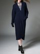 Navy Blue Cashmere Plain Knitted Casual Cardigan