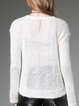 White Crew Neck Knitted Plain Long Sleeve Sweater