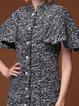 Gray Plain Sheath Stand Collar Wool Elegant Coat