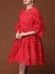 Pierced Lace Crew Neck Vintage 3/4 Sleeve Midi Dress