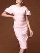 Pink Elegant Embossed Crew Neck Sheath Midi Dress