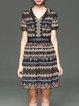 Multicolor V Neck Casual Jacquard Mini Dress