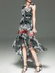Floral Printed Sleeveless Casual High Low Holiday Dress