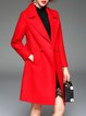Red Lapel Buttoned A-line Casual Coat With Belt