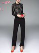Stand Collar Guipure Paneled Casual Sheath Long Sleeve Jumpsuit with Belt