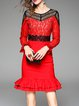 Red Frill Sleeve Crocheted Mermaid Lace Midi Dress