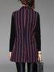 Red-black Pockets Stripes Simple Vests And Gilet