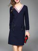 Dark Blue A-line V Neck Paneled Elegant Mini Dress