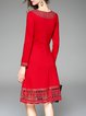 Red Elegant Embroidered Graphic A-line Midi Dress