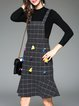 Long Sleeve Girly Checkered/Plaid Two Piece Ruffled Overall